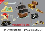pirate accessories flat icons... | Shutterstock .eps vector #1919681570
