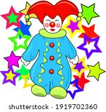 A Funny Clown With Colorful...