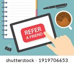 refer a friend button on tablet ... | Shutterstock .eps vector #1919706653