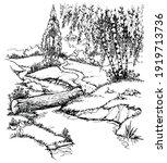 calm old brook rivulet reed... | Shutterstock .eps vector #1919713736