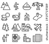 travel icons set. includes...   Shutterstock . vector #1919719589