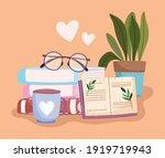 book day  textbooks glasses... | Shutterstock .eps vector #1919719943