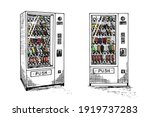 vending machine set hand drawn... | Shutterstock .eps vector #1919737283
