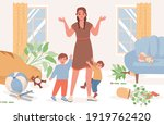 upset and confused mother with... | Shutterstock .eps vector #1919762420