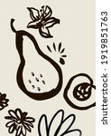 ink wash art with pear  peach...   Shutterstock . vector #1919851763