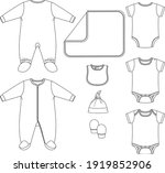 Set Of Vector Baby Clothing...