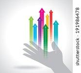 human hand push the business... | Shutterstock .eps vector #191986478