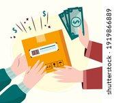cash on delivery. postal parcel ... | Shutterstock .eps vector #1919866889