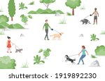 people walking in city park...   Shutterstock .eps vector #1919892230