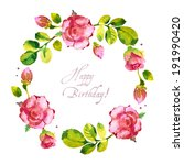 Watercolor Flower Roses Wreath...