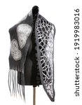 Gray Scarf Of Felted Wool On A...