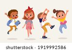 set  group of 4 four happy... | Shutterstock .eps vector #1919992586
