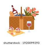 picnic basket with delicious... | Shutterstock .eps vector #1920099293