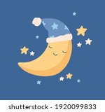 cute yellow half moon sleeping... | Shutterstock .eps vector #1920099833