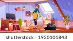 woman clean teenager room ... | Shutterstock .eps vector #1920101843