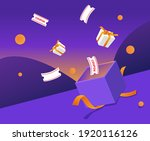 a box of gifts and coupons... | Shutterstock .eps vector #1920116126