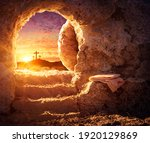 Empty tomb with crucifixion at...