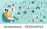 corporate team working remotely ... | Shutterstock .eps vector #1920142913