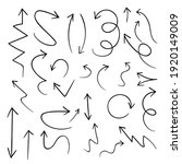 hand drawn black arrows... | Shutterstock .eps vector #1920149009