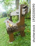 side view of wooden bench on a...   Shutterstock . vector #1920200090