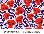 skulls and snakes seamless... | Shutterstock .eps vector #1920222509