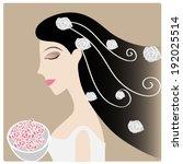 women with rose on hair | Shutterstock .eps vector #192025514