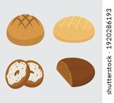 set vector bread icons. rye ... | Shutterstock .eps vector #1920286193