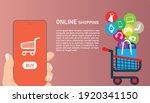 online shopping on application... | Shutterstock .eps vector #1920341150