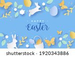 happy easter papercut greeting... | Shutterstock .eps vector #1920343886