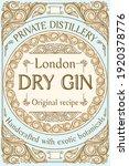 dry gin   ornate vintage... | Shutterstock .eps vector #1920378776