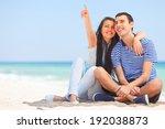 beautiful couple on the beach. | Shutterstock . vector #192038873
