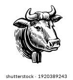 cow head black on white sketch... | Shutterstock .eps vector #1920389243