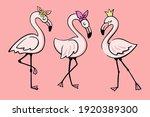 three pink glamorous flamingos... | Shutterstock .eps vector #1920389300