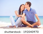 beautiful couple kissing on the ... | Shutterstock . vector #192040970