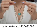 Gold Necklace With Blue Stone...