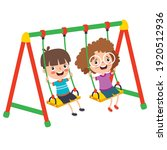 funny kid playing in a swing | Shutterstock .eps vector #1920512936