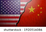 usa vs china flags stone wall...   Shutterstock .eps vector #1920516086