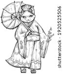Cat Dressed In Kimono With...
