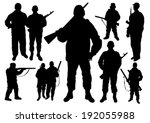 soldiers silhouettes set | Shutterstock .eps vector #192055988