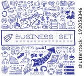 hand drawn business icons set.... | Shutterstock .eps vector #192058346