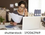 young woman hard working at... | Shutterstock . vector #192062969