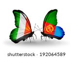 two butterflies with flags on... | Shutterstock . vector #192064589