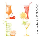 vector set of vintage cocktails ... | Shutterstock .eps vector #192064640