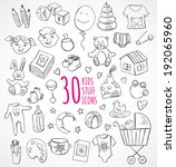 vector set of sketch icons kids ... | Shutterstock .eps vector #192065960