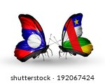 two butterflies with flags on... | Shutterstock . vector #192067424