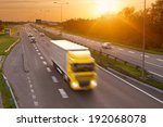 yellow truck in the rush hour... | Shutterstock . vector #192068078