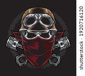 skull biker with helmet vector   Shutterstock .eps vector #1920716120