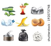 bag,banana,bottle,can,cleaning,clip-art,collection,detailed,earth,ecology,environmental,garbage,glass,glossy,green