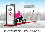 fast delivery man with... | Shutterstock .eps vector #1920806963