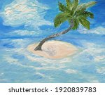 Palm Tree On A Tiny Island In...